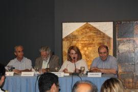 Οι ομιλητές από αριστερά: κ. Γ. Σαχίνης, κ. Θ. Δρίτσας, κ. Ντ. Αδαμοπούλου, ο κ. Λ. Βαζαίος